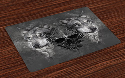 Lunarable Wolf Place Mats Set of 4, Abstract Skull Between 2 Canine Animals Wildlife Grunge Tattoo Like Artwork, Washable Fabric Placemats for Dining Table, Standard Size, Black Grey