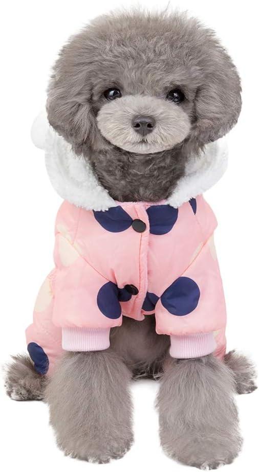 Smilikee Hund Wintermantel Winddicht 4 Beine Baumwolle Gepolsterte Haustier Hoodies Jacke Winter Warme Schneeanzug Kost/üm Jacke Mantel Bekleidung