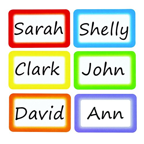 Self Adhesive Name Badges - Colorful Name Tags Labels Perforation Line Design Identification School Office Stickers 6 Colors 200 pcs