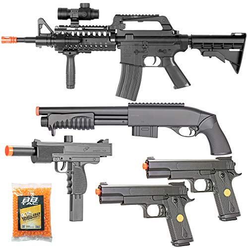 BBTac Airsoft Gun Package Desert Raider - Powerful Spring Rifle, Pump Action Shotgun, SMG, Two Pistols and BB Pellets, Preimum Airsoft Starter Pack