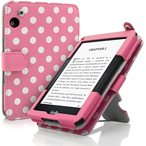 iGadgitz 'Vintage Collection' Pink with White Polka Dots PU Leather Case Cover for Amazon Kindle Voyage 7th Generation (Oct. 2014) with Viewing Stand + Auto Sleep Wake + Hand Strap by igadgitz