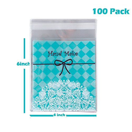 TripodGo 100 Pcs Cute 6x4 Self-sealing Clear Cellophane Bags, for Handmade Snake Bakery Candle Soap Cookie, Blue Tie, 100 Pcs (BlueTie)
