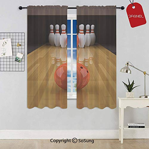 (Alley with Red Skittle in Center Target Score Winning Decorative Rod Pocket Sheer Voile Window Curtain Panels for Kids Room,Kitchen,Living Room & Bedroom,2 Panels,Each 42x54 Inch,Light Brown Red Whit)
