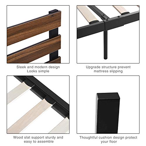 GreenForest Bed Frame Queen Size Metal Platform Bed with Wood Slat Support Wooden Headboard No Box Spring Needed and Noise-Free