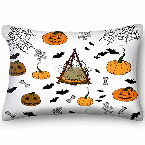 Halloween Pumpkin Spider Web Candles Skull Objects Background Signs Symbols Cotton Linen Blend Decorative Throw Pillow Cover Cushion Covers Pillowcase Pillow Shams, Home Decor Decorations For Sofa Cou for $<!--$13.88-->