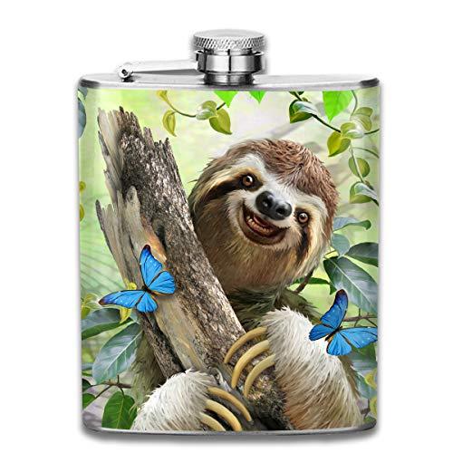 Laki-co Tree Sloth Hip Flask for Liquor Stainless Steel Bottle Alcohol -