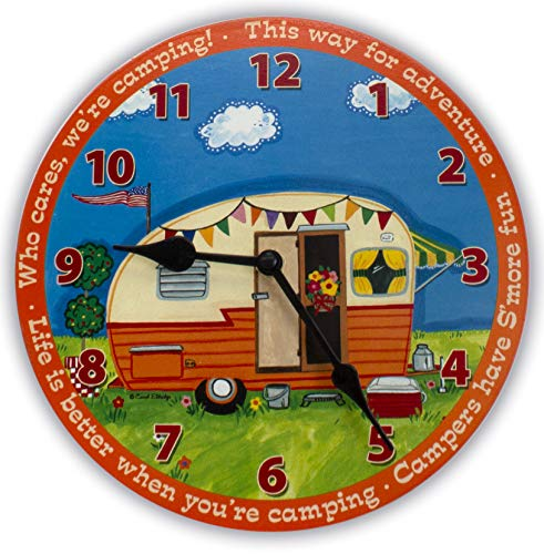 Cathedral Art Clock - Camping Scene, One Size, Multicolored