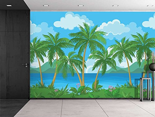 Large Wall Mural Image of Tropical Scenery with Palm Trees Vinyl Wallpaper Removable Decorating