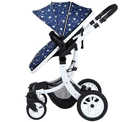 WYARU Pushchairs High Landscape Travel System Buggy Bidirectional from Birth Complete,B