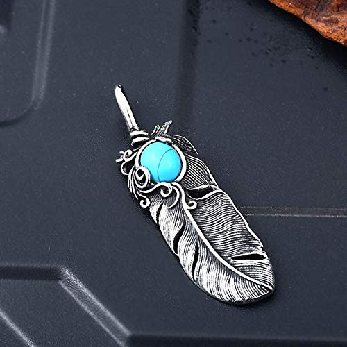 Davitu 316L Stainless Steel Pendant Necklace Japan popluar Feather Pendant with Natural Oval Opal Green Stone Jewelry LLBP8-283R