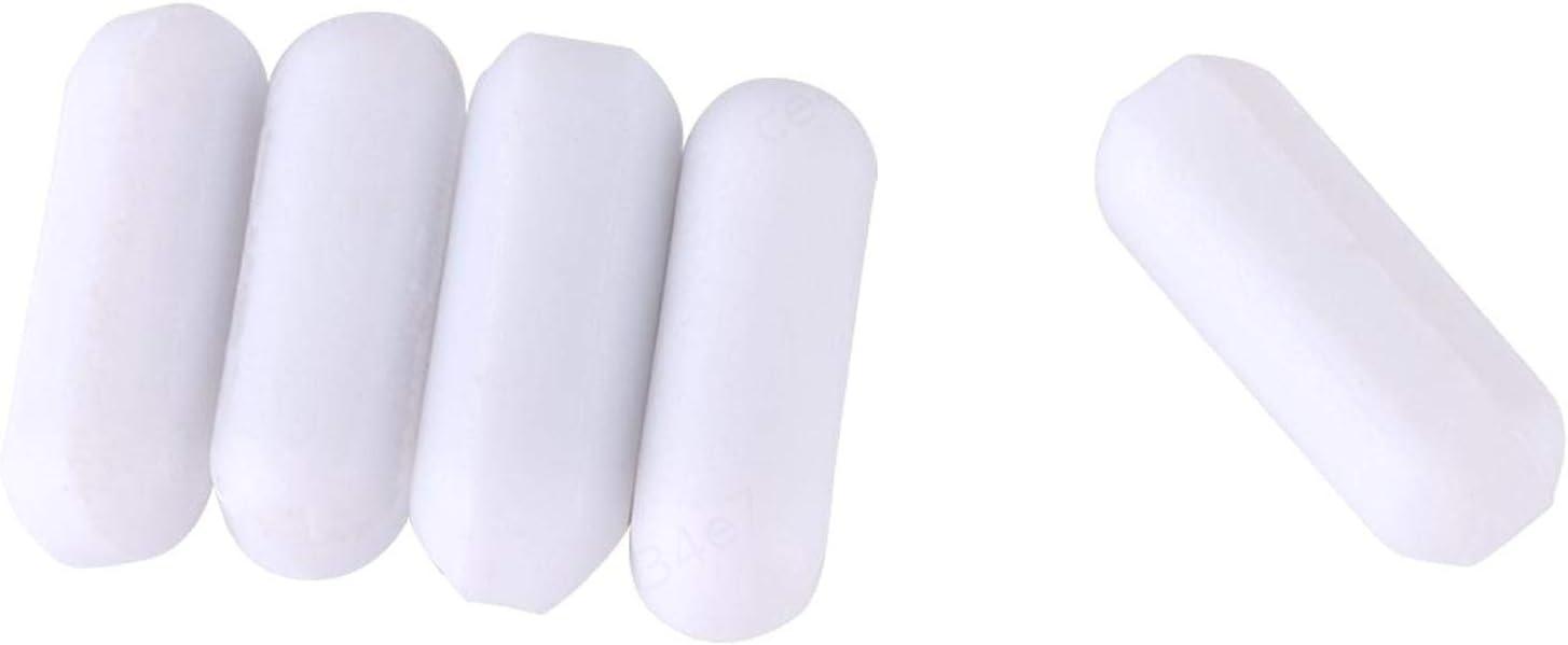 5 pi/èces Laboratoire de barreaux dagitation en PTFE de Couleur Blanche de Type-C pour m/élangeur magn/étique