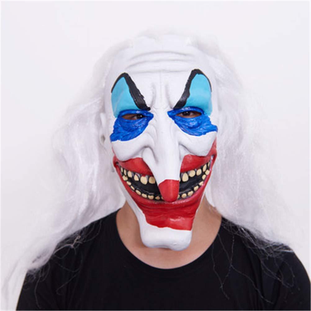 Evil Spaventoso Halloween Joker Clown Maschera Gomma Lattice Pieno Viso Cornuto Maschera Pagliaccio per Partito Masquerade Costume Maschera Accessorio, Adatto per la Maggior Parte degli Adulti