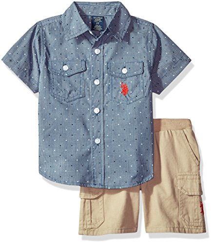 (U.S. Polo Assn. Boys' Toddler Sport Shirt and Short Set, Lines dots Khaki Multi Plaid)