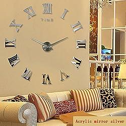 New Real Large Home Decorative Wall Clocks Quartz Modern Design Wall Clock Watch Horloge 3D Diy Acrylic Mirror Stickers Blue