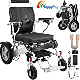 Happybuy Folding Power Wheelchair 350LBS Capacity Electric Wheel Chair Dual Motor 250W Folding Electric Wheelchairs Lightweight 3 Mile/h Compact for Car and Air Travel