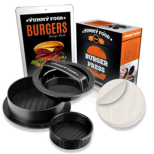 Firebird Grill (YummY Food - Stuffed Burger Press Patty Maker - Burger Maker For Home Parties And Barbecues - 3-IN-1 Burger Mold - With 30 Free Wax Paper– Recipe eBook & Bonus Mold For Mini Burgers)