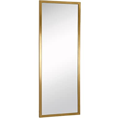 Commercial Grade Contemporary Industrial Strength Full Length Wall Mirror | Brushed Gold Metal Rectangle with Mirrored Glass | Vanity, Entrance, Bedroom, or Restroom Horizontal & Vertical (18  x 48 )