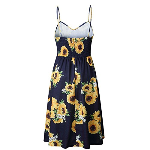 Pockets Floral Strap Spaghetti Sunflower Button Women's Navy Swing Casual Boho with Summer Print Midi Dress SxCt75