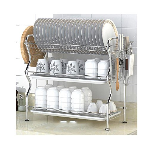 NEX 3 Tier Dish Drying Rack Counter Dish Rack with Tray