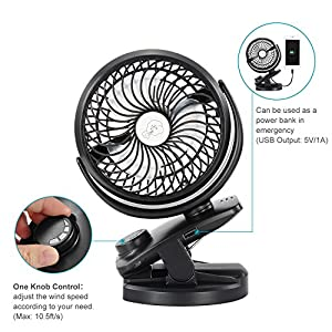 Comlife Battery Operated Clip on Portable Fan with 4400mAh Power Bank, Rechargeable Battery Personal Cooling Fan for Baby Stroller, 6-32 Hours Working Time,Stepless Regulation,Strong Airflow