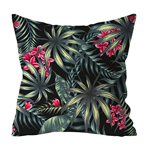(OrchidAmor Green Leaf Printed Pillow Case Polyester Sofa Car Cushion Cover Home Decor 2019 New Fashion)