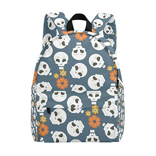 Casual Backpack Travel for Men Women Skulls For Halloween And Day Of The Dead School Bag for Boys High School College Bags Daypack 15 In -