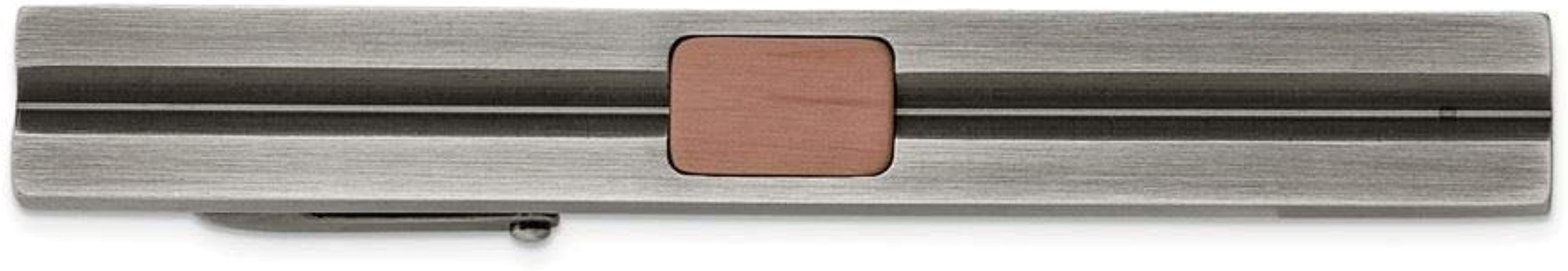 Stainless Steel Antiqued White Bronze Plated and Brown IP-plated Tie Bar