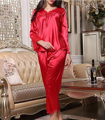 Trajes Para Mujeres Pijama De Seda De Manga Larga Casual Y Cómoda Transpirable Red