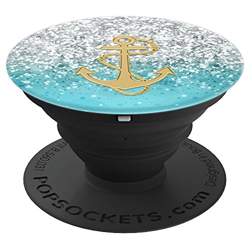 Nautical Pop Socket Anchor Design. Gold and Light Blue - PopSockets Grip and Stand for Phones and Tablets