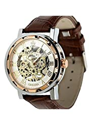 Coromose Luxury Mans Leather Band Stainless Skeleton Mechanical Wrist Watch