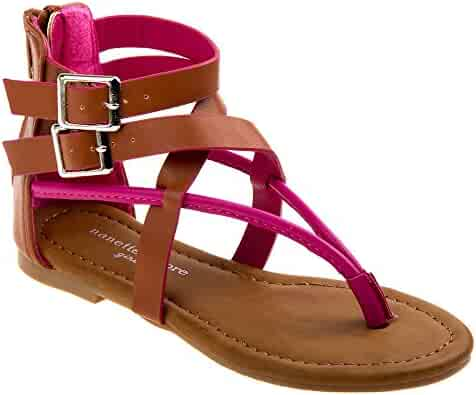 c703b0408fe Nanette Lepore Girls Tan Hot Pink Criss-Cross Strap Flip Flop Sandals 11-4
