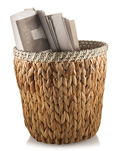 Francois et Mimi Personal Natural Woven Water Hyacinth Wicker Waste Basket 10