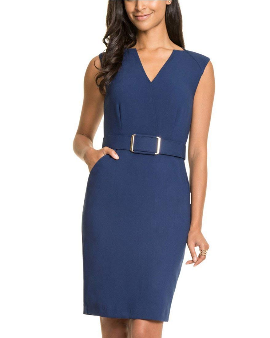 LE CHÂTEAU Women's V-Neck Belted Sheath Dress 339144