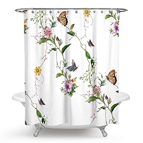 QCWN Colorful Flowers Shower Curtain, Butterflies and Spa Home of Spring Theme Zen Floral House Shower Curtain Set for Bathroom Décor.Multi 59x70Inch