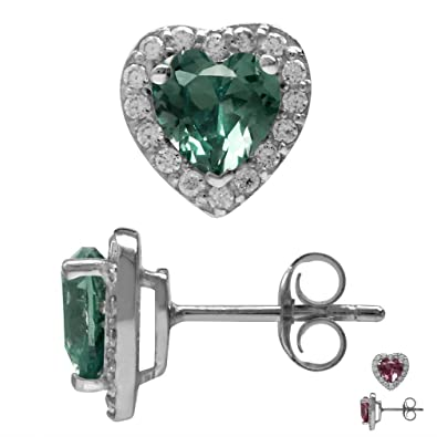 9b42dc0cf Amazon.com: 6MM Heart Shape Simulated Color Change Alexandrite 925 Sterling  Silver Halo Stud Earrings: Jewelry