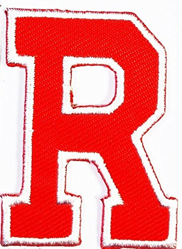 Cute Halloween Costume Ideas For Work (Red R letter patch Symbol Jacket T-shirt Patch Sew Iron on Embroidered Sign Badge Costume. 1.5 x 2 inches.)