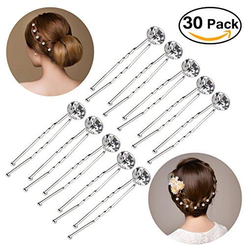 Decorative Hair Clip (Pixnor 30pcs Bridal Clear Crystal Rhinestone Hair Pins Clips Decorative Wedding Flower for Women)