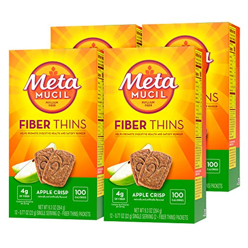 Metamucil Apple Crisp Flavored Fiber Thins Dietary Fiber Supplement with Psyllium Husk, 12 servings (pack of 4)