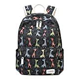 Moonwind Giraffe School Backpack for Girls Teen Book Bag Women Travel Daypacks (Giraffe, Black)