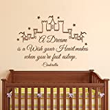 Wall Decal Decor Cinderella Wall Decal Quote A Dream Is A Wish Your Heart Makes- Girl Wall Decals Nursery Wall Decal Kids Girls Bedroom Home Decor(dark gray, 24.5''h x34''w)