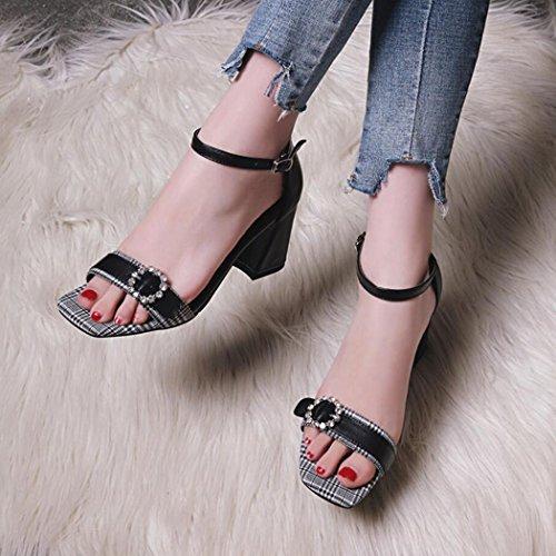 sandales bureau talons de T Femmes de grande hauts Toe pompes travail formelles GAOLIXIA en été Noir Open taille 34~42 Mid strass cuir chaussures sangle p04HxqA