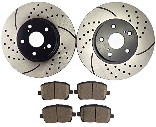 Atmansta QPD10004 Front Slotted & Drilled Rotors and Ceramic Pads Brake Kit for Pontiac VIBE Toyota Corolla