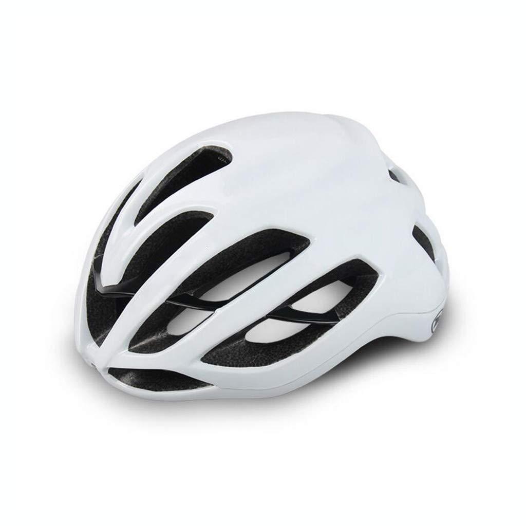 自転車ヘルメット、自転車ヘルメットロードマウンテンバイク安全キャップ調節可能な軽量一体型成人スポーツヘルメット  白 B07PTQHGQK