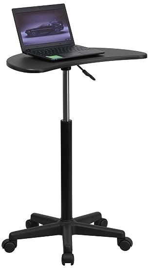 flash furniture height adjustable mobile laptop computer desk with black top