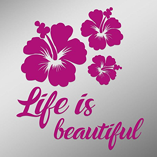 DD816HP Hibiscus Flower Life Is Beautiful Decal Sticker | 5.5-Inches By 4.9-Inches | Premium Quality Hot Pink Vinyl