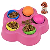 "Petacc Treat Dispensing Dog Toy Interactive Pet Food Leakage Toy Brain and Exercise Game for Dogs and Cats, 10"" Diameter (Rosy)"