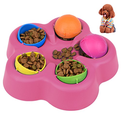 Petacc Treat Dispensing Dog Toy Interactive Pet Food Leakage Toy Brain and Exercise Game for Dogs and Cats, 10'' Diameter (Rosy)