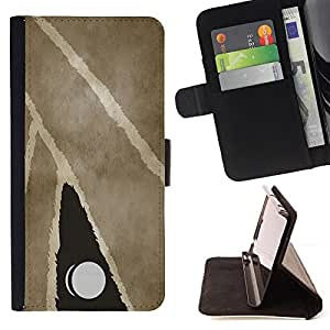 DEVIL CASE - FOR Apple Iphone 5 / 5S - Modern Art Painting Door Knub Watercolor - Style PU Leather Case Wallet Flip Stand Flap Closure Cover