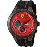 Ferrari Men's Quartz Stainless Steel and Silicone  Watch, Color:Black (Model: 830343)