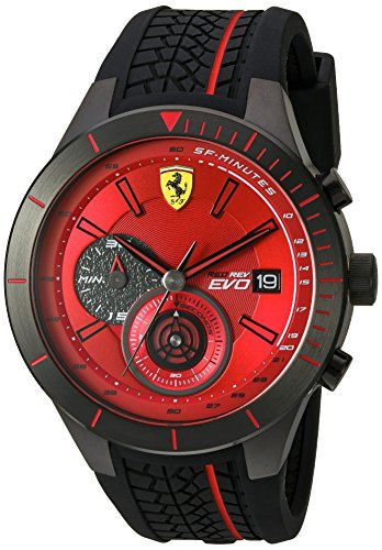 Ferrari Men's Quartz Stainless Steel and Silicone  Watch, Color:Black (Model: - Ferrari With Model